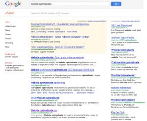 website optimalisatie op pagina 5 Google